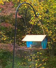 stained glass and copper hanging bird feeder
