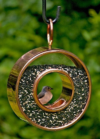 Circle Fly-Thru Solid Copper Bird Feeder