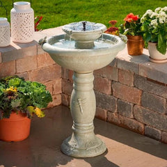 2-Tier Solar Fountain Bird Bath