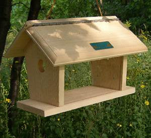 Wooden Bluebird Feeder-Hang or Post-Mount