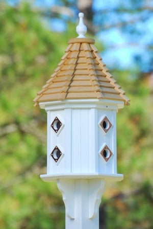 Vinyl Dovecote Birdhouse with Cypress Shake Roof & 8 Portals