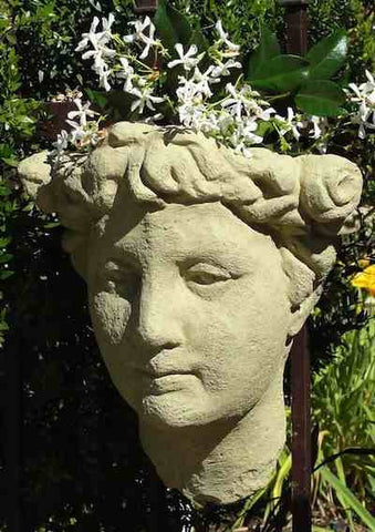 Lady Head Wall Planter in Cast Stone