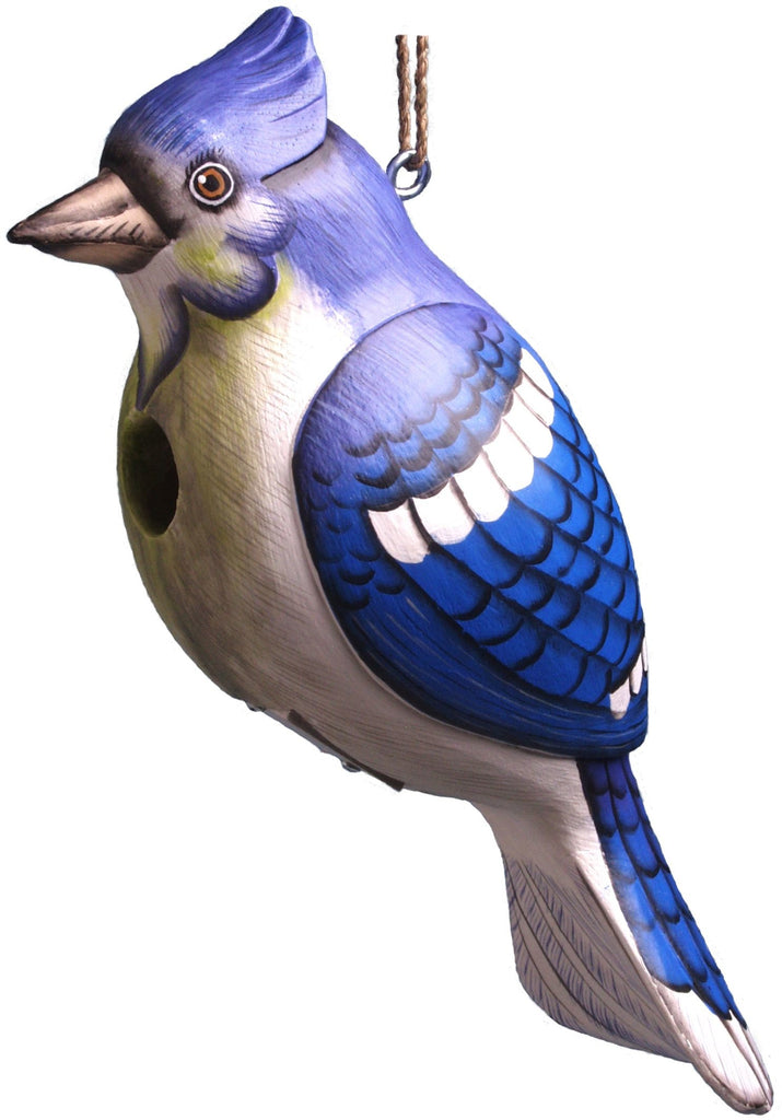 Blue Jay Look-Alike Wooden Birdhouse
