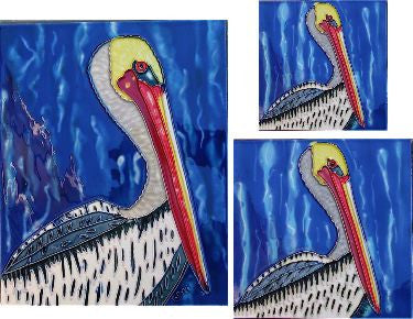 Hand Crafted Ceramic Tiles-Set of 3 Pelicans