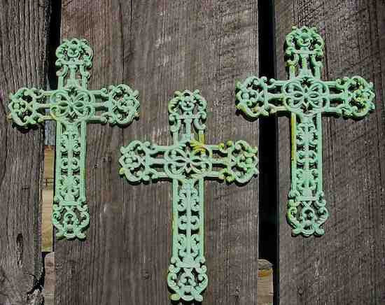 Cast Iron Crosses Set of 3-Antique and Verde Finish