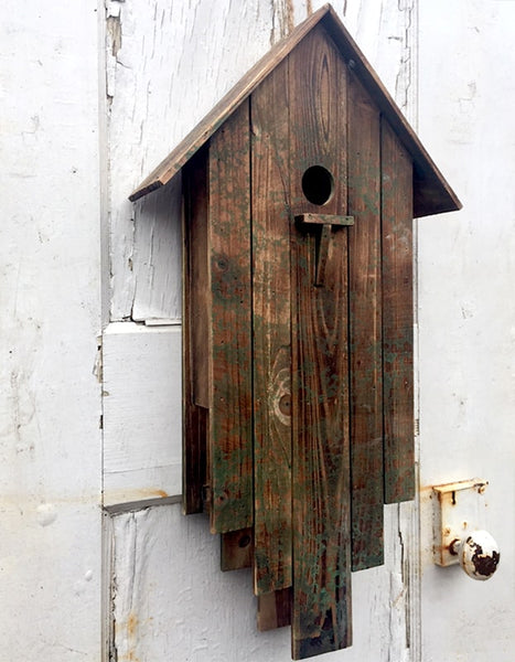 A Frame Weathered Birdhouse Rustic Bird House Unique