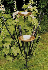 Double Cattail Bird Bath with Iron Perches