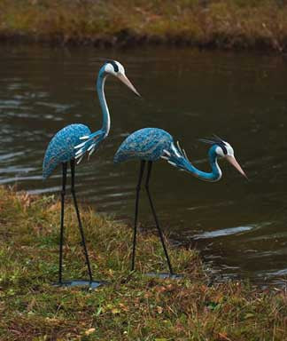 Steel Heron Pair Garden Sculptures
