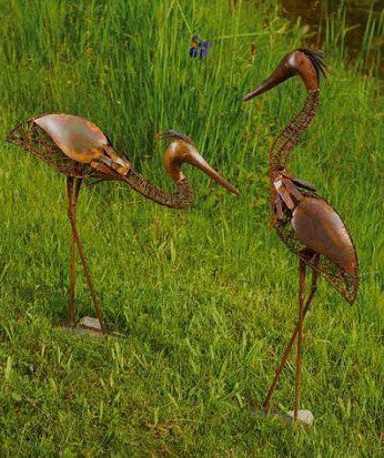 Flamed Copper Heron Set-Woven Wire Garden Sculpture