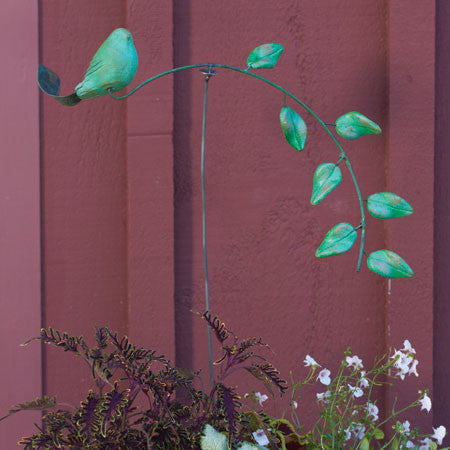 Ceramic Bird & Leaves Balance-Kinetic Garden Stake in Teal or Spice