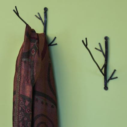 Hand Forged Twig Wall Hook Set