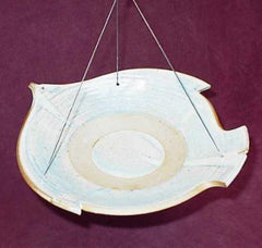 Stoneware Bird in Flight Hanging Bird Bath-5 Colors