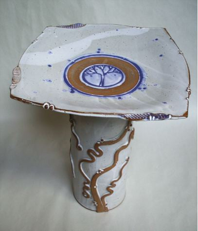 Tree of Life Stoneware Pedestal Bird Bath