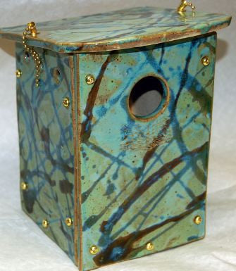 Orchard Nest Box in Hand Crafted Stoneware-Teal