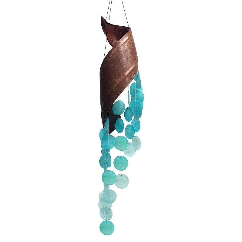 Aqua Capiz Bent Leaf Wind Chime