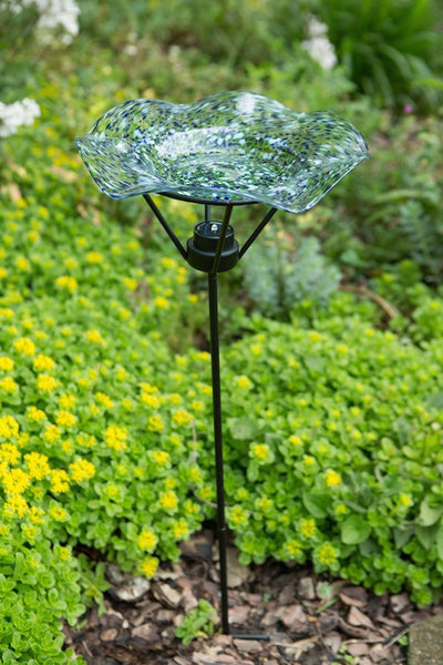 Unique Bird Baths Illuminarie Staked Glass Bird Bath