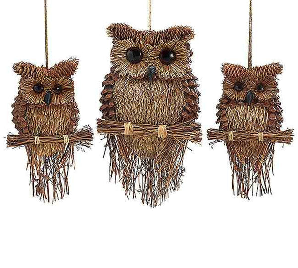Pine Cone Owls Handcrafted Owl Decor Hanging Twig Owl