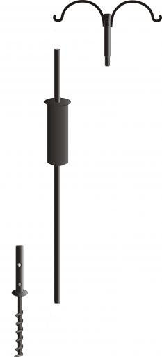 Garden Pole Set-2 Hangers, Baffle and Ground Auger