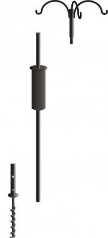 Garden Pole Set Triple Hanger, Baffle and Ground Auger