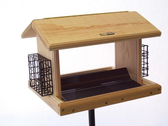 Large 11 Quart Hopper Bird Feeder w/Suet Cages by BirdsChoice