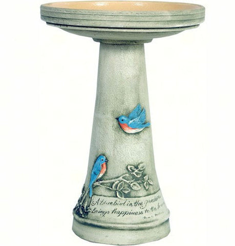 Bluebird Pedestal Birdbath-Locking Top