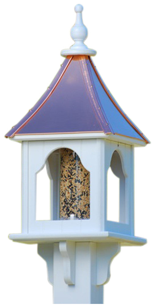 Copper Roof Bird Feeder In Vinyl Pvc Post Mounted 4x4