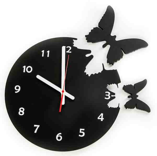 Butterflies Are Free Clock-Solid Wood