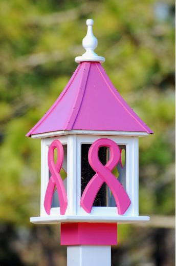Copper Roof Bird Feeder in Vinyl/PVC - Pink Ribbon Special Edition