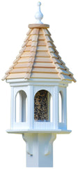 Gazebo Bird Feeder-Vinyl with Cypress Roof 12x28