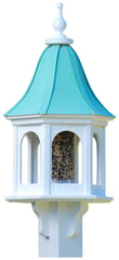Copper Roof Bird Feeder in Vinyl/PVC, Post Mounted