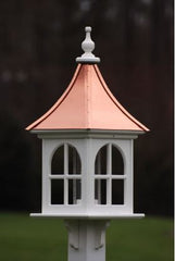 Copper Roof Bird Feeder in Vinyl/PVC-Arched Windows