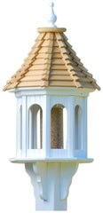 Vinyl/PVC Gazebo Bird Feeder with Cypress Shingle Roof