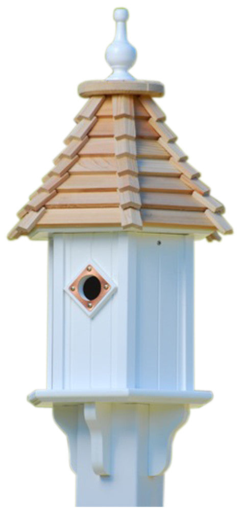 Vinyl Bluebird House with Cypress Shake Detail Roof