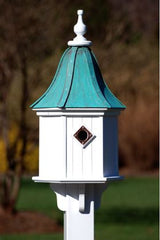 Copper Roof Birdhouse PVC/Vinyl with 3 Portals-Patina