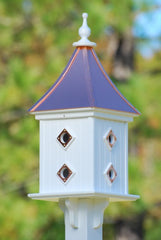 "Copper Roof Birdhouse in PVC-8 Compartments 28"" Tall with Portals"