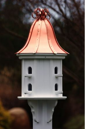 Copper Roof Dovecote Birdhouse with Copper Ribbon Finial