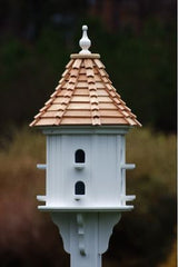 Vinyl Dovecote Birdhouse with Cypress Shake Roof & 8 Perches