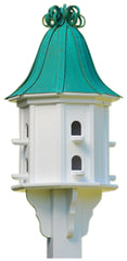 Copper Roof Dovecote Birdhouse with Copper Ribbon Finial and 8 Entries