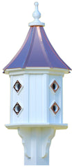 Copper Roof and PVC Dovecote Birdhouse, 36-inch with 8 Copper Portals