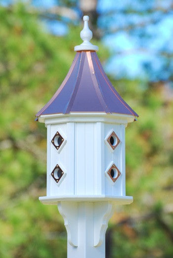 Copper Roof Dovecote Birdhouse Vinyl/PVC with 8 Copper Portals