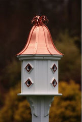 Copper Roof and PVC Dovecote Birdhouse with Copper Ribbon Detail and 8 Portals