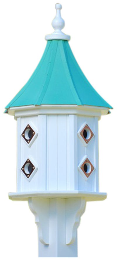 Copper Two-Story Birdhouse Dovecote Style