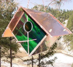 Stained Glass & Copper Birdhouse-Emerald