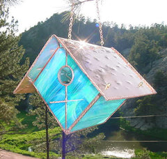 Stained Glass & Copper Birdhouse-Sky