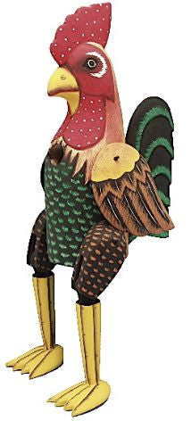 Big Hanging Rooster Wooden Birdhouse