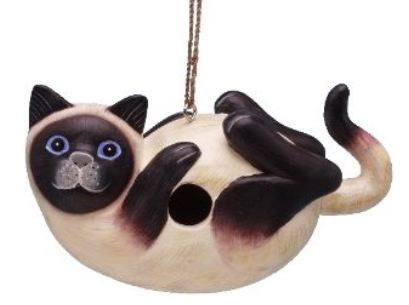 Siamese Cat Wooden Birdhouse