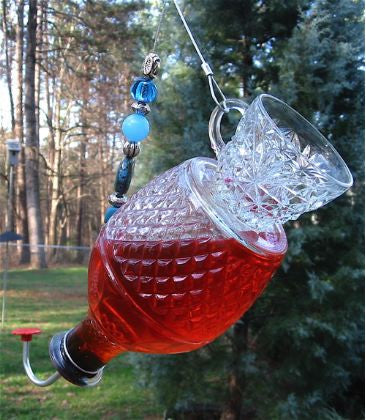 Cut Glass Tea Cup Hummingbird Feeder