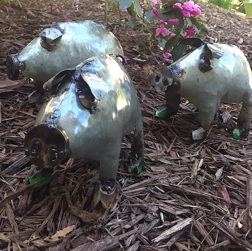 Baby Pigs Metal Yard Art- Set of 3