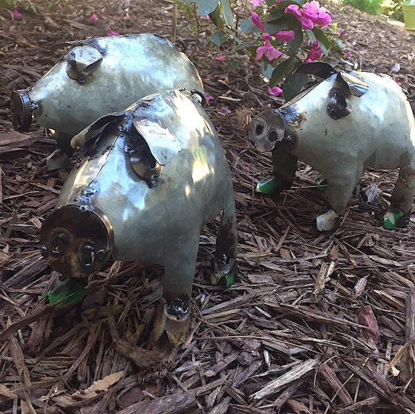 Baby Pigs Metal Yard Art Recycled Pig Set 3 Mexico
