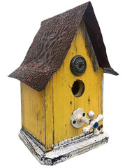 Barn Wood and Tin Rustic Birdhouse- Yellow 1